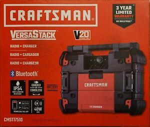 Craftsman Versastack 20V Lith-Ion Jobsite Radio+Bluetooth with Charger CMST17510