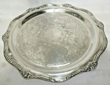 VINTAGE EXTRA LARGE HEAVY ORNATE SILVER TRAY - 38cm diameter - vg condition