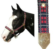 Plaid Nylon Padded Halter Horse Sized Nwt By Intrepid Red And Navy