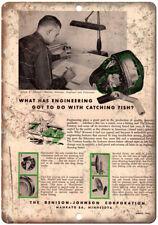 "Denison Johnson Co. Fishing Reel Vintage Ad 10'"" x 7"" Reproduction Metal Sign"