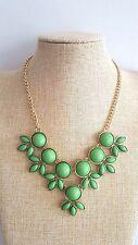 Color Verde Floral Babero Burbuja Bohemio Verano Festival Collar Cadena de oro