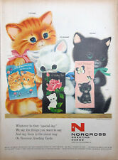 Vintage 1958 Norcross Greeting Cards Cute Kittens With Cards Print AD