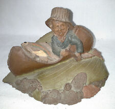 """Tom Clark Gnome Figurine in a Canoe Padding with a Fish Titled """" Walt """""""