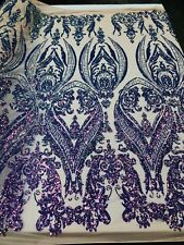 Iridescent Purple 4 Way Stretch Sequin Fabric Spandex Mesh Prom-Gown By Yard
