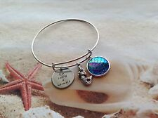 NAUTICAL ADJUSTABLE SILVER PLATED BANGLE BRACELET MERMAID WORD SCALE CHARM