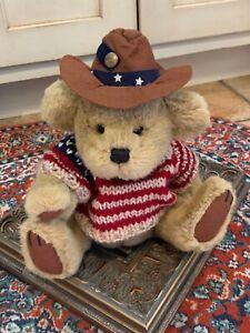 PICKFORD BRASS BUTTON BEAR CODY USA SWEATER  HAT STUFFED ANIMAL RETIRED 0939 EUC
