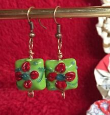 Handmade Green Red Blue Glass Earrings Dangle Lampwork Beads Hard Candy Look