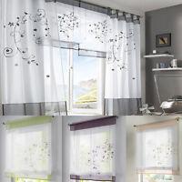 GS Vorhang Gardine Fenster Raffrollo Raffgardine Blume Sticken Farbwahl 4 Größen