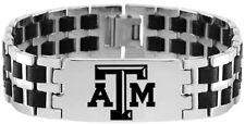 TEXAS A&M UNIVERSITY AGGIES * Stainless Steel & Rubber Link Bracelet w/Logo NCAA