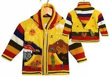 Strickjacke Zipfelkapuze gelb+bunt Nr.1 Gr 80*86  XXL-Kapuze Bauerhof Tiere Peru
