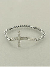 Rhodium & Crystal Cross Stretch Bracelet