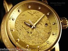 Invicta Men S1 Rounder Yakuza Dragon Automatic 18KGIP SS Black/Beige Strap Watch