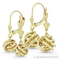 8mm or 10mm Love Knot Charm Leverback Dangling Drop Earrings in 14k Yellow Gold
