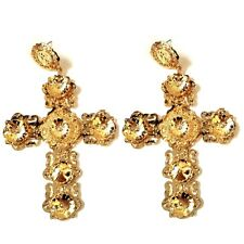 Vintage Designer Alloy Metal Flowers Art Deco Large Gold Baroque Cross Earrings