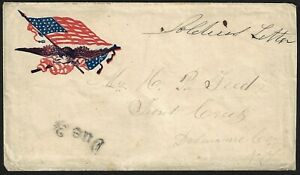 US 1860s CIVIL WAR COVER SOLDIER LETTER FREE FRANK WITH DUE 3 CENTS TO NY