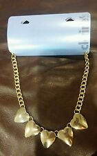 "Claire's Necklace Goldtone 5 Hearts Bib Heavy Chain 17"" with 3"" extender NEW NWT"