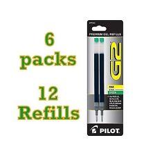 6 Packs (12 Refills) Pilot G2 Pen Gel Green Ink Refill for Fine Point .7mm 77243
