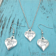 Flower Girl Silver Necklace earring,pendants,Charms Gift  jewelry sets