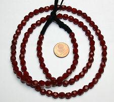 Strang 64 cm böhmische facettierte Glasschliffperlen 6 mm dunkel rot opak