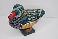 """8"""" Wooden Duck Carved Hand Painted Green & Brown w/ Red Bill Standing"""
