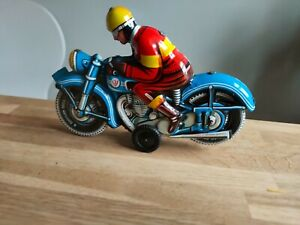 Mid Century Lithographed tin toy motorcycle Made in Western Germany