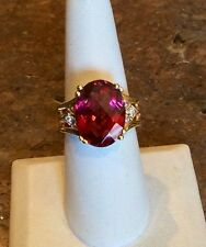 EXQUISITE 18K YG NIGERIAN PINK TOURMALINE & DIAMOND RING RET $6940