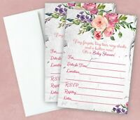 Girl Baby Shower Invitations Pink Floral Invites LARGE size Rose Qty 20