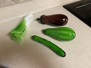 Vintage Murano Style Hand Blown Glass Vegetables ~ 4 Pieces