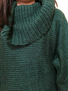 Terranova Dark Green Glittery Knit Sweatshirt Turtleneck Winter Top Sz Small