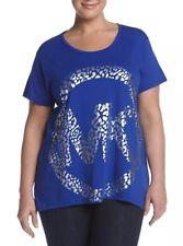 MICHAEL Michael Kors Logo T-Shirt Plus Size 2X Royal Blue Foil Logo NWT