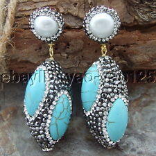 H070115 White  Pearl Turquoise Black  Marcasite Earrings