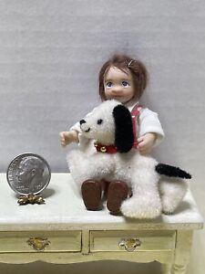 Vintage Artisan WHEELER Jointed Furry Stuffed Dog Toy Dollhouse Miniature 1:12