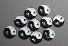 10 x 12 mm 'YIN & YANG - CAT'S EYES' Cabochons      (E513)