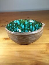 Vintage Walnut Shell Shaped Pottery Bowl With Cool Blue Green Inside