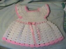 WHITE SHELLS~PINK TRIMS CROCHET BABY DRESS NEWBORN 0-3 mos PINK FLOWER buttons