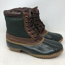 Lands End Duck Boots 8M Thinsulate Mens Winter Rain Steel Shank Rubber Lace Up