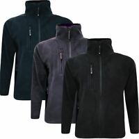 Mens High Quality Fleece Jacket Full Zip Up Polar Work Warm Coat Top Anti Pill