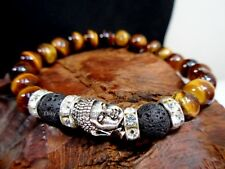 Lava Stone Natural Tiger Eye Bead Protection Good Luck Silver Buddha Bracelet BN