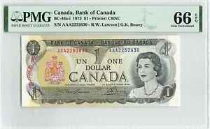 """CANADA $1 Dollar 1973, BC-46a-i, """"AAA"""" Prefix, PMG 66 EPQ Gem UNC, Lawson Bouey"""
