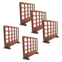 5 Pieces Vintage Wood Folding Screen for 1/12 Dollhouse Furniture Collection