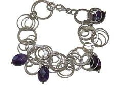 Charm Amethyst Pendant Bracelet 925 Vintage Sterling Silver Hoops Chain Dangle