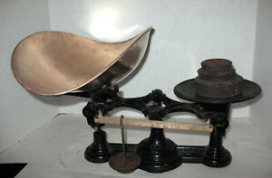 Vintage Antique Kitchen / Store Scale w/ HUGE COPPER Weighing Pan