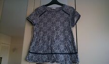 Womens size 16 navy/off white patterned top, navy lace detail, from bhs, used