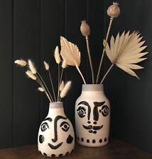 Large Stoneware Painted Face Vase With Moustache Black & White Glazed
