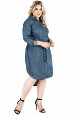 Denim Plus Size Shirt Dresses | eBay