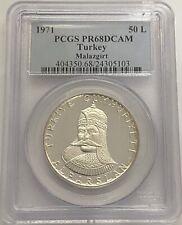 1971 Turkey Silver 50 Lira - Battle of Malazgirt - PCGS PR68DCAM - Top Pop