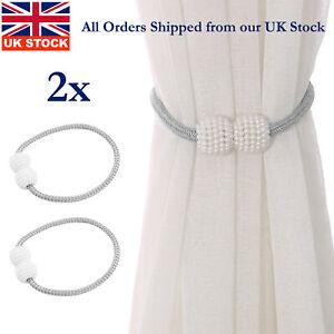 2Pcs Strong Grey Magnetic Curtain Tie Backs Curtain Holdbacks Buckle Clips UK.