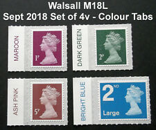 NEW SEPT 2018 WALSALL M18L Set of 4v Machin SINGLE STAMPS with COLOUR TABS