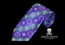 Lord R Colton Masterworks Tie - Pisa Amethyst Colorful Woven Necktie - New