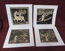 4 Modern Chinese or Japanese Woodblock Print Linocut ? Erotic Nude 20th century